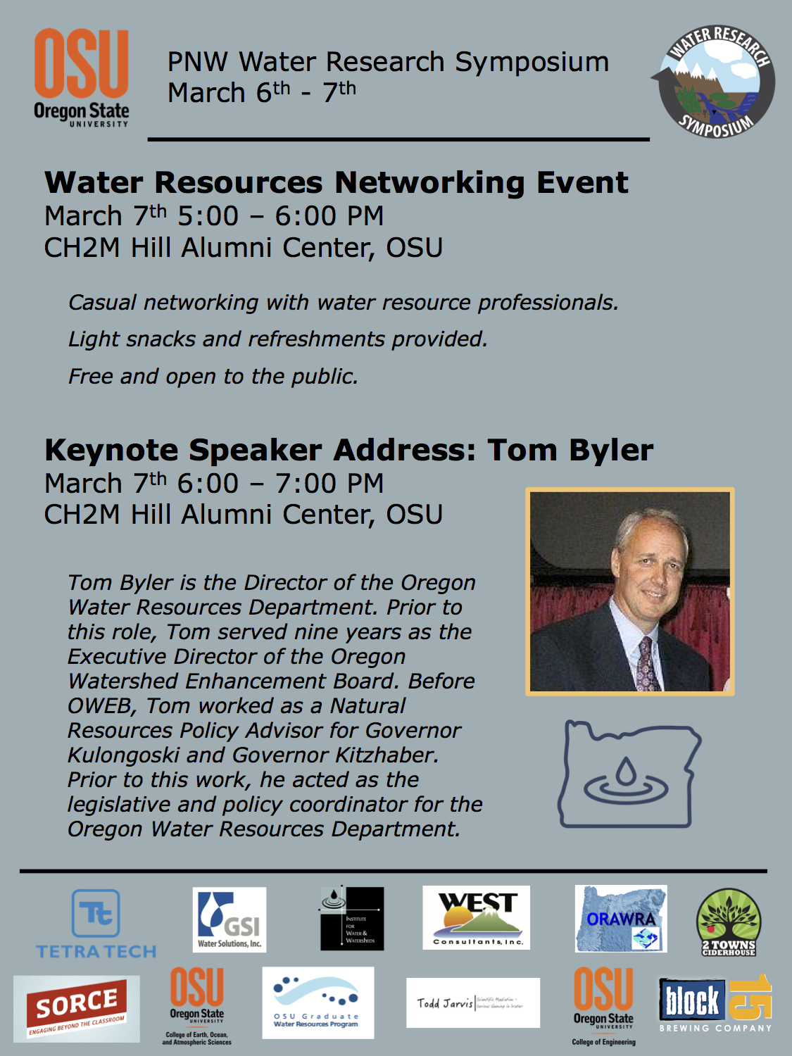Netwoking an Keynote Flyer. March 7th 2017. Networking 5-6pm, Keynote Address by Tom Byler 6-7pm.  CH2M Hill Alumni Center